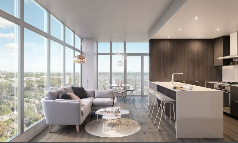 kitchen and living room rendering