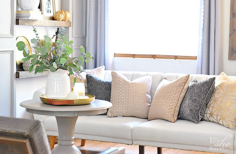 Neutral sofa pillows