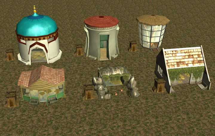 My Downloads - TexMod Packs: In-Game Zoo Building MakeOver - Demo Screenshot Displaying the Same Six In-Game Animal Houses as in the Previous Image Without TexMod ReTextures, Image 02