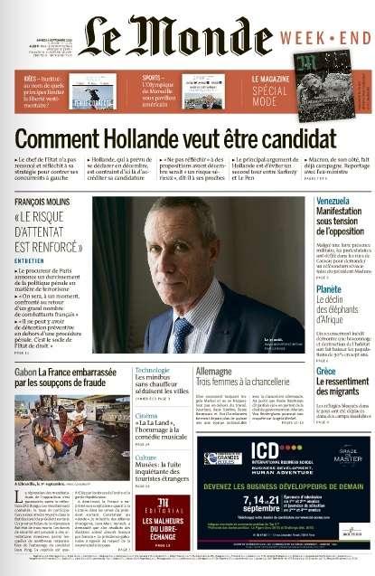 Le Monde du Samedi 3 Septembre 2016