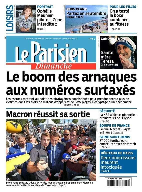 Le Parisien et Guide de votre Dimanche 4 Septembre 2016