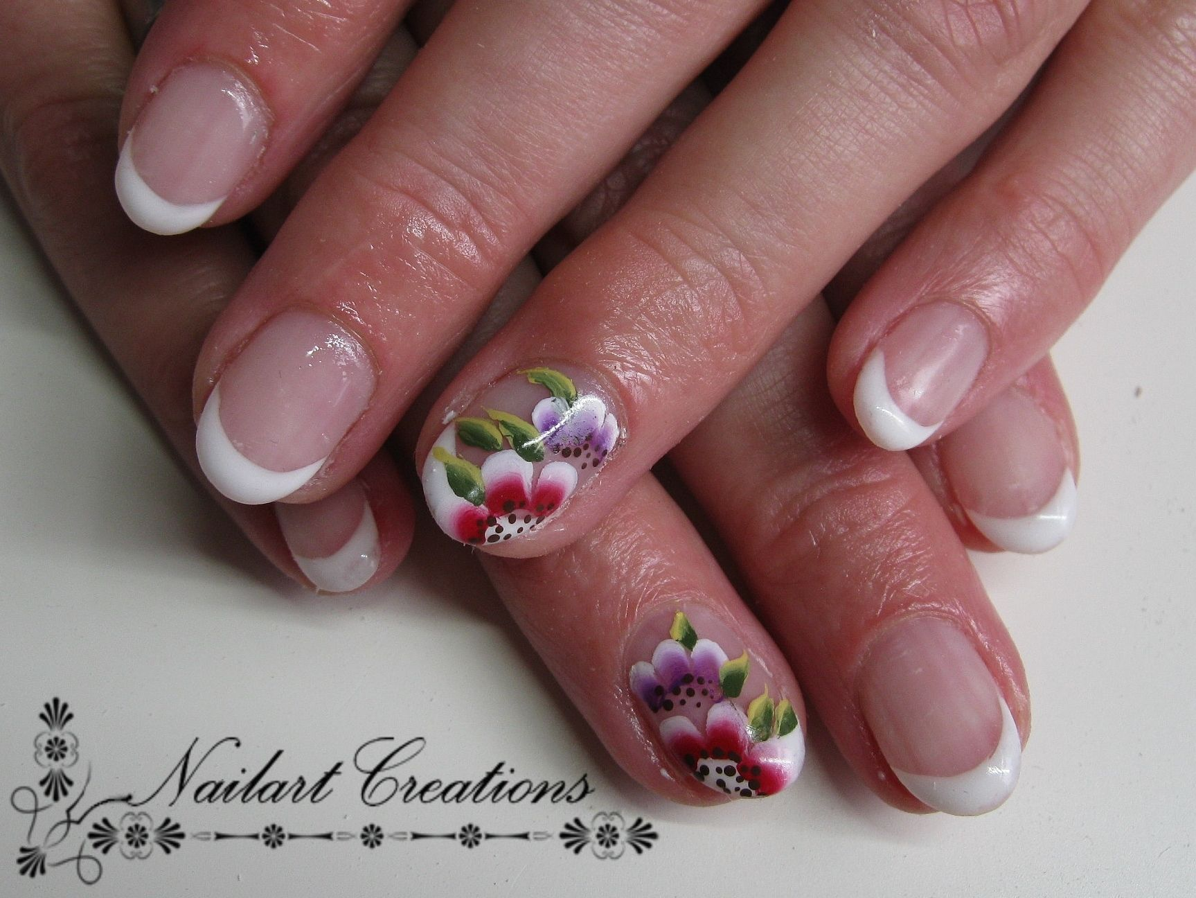 Nailart Creations Gelnagels French 2 One Stroke Flowers