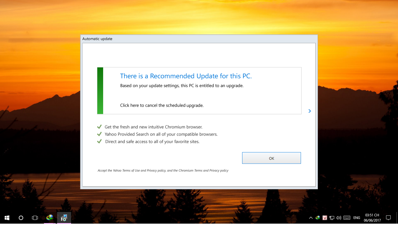 Cách tắt automatic update: There is a recommended update for this pc