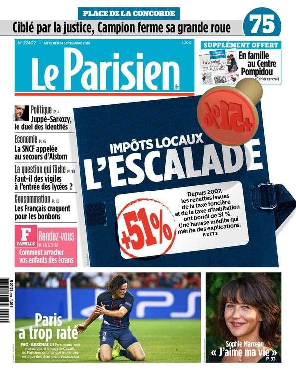 Le Parisien + Journal de Paris du Mercredi 14 Septembre 2016