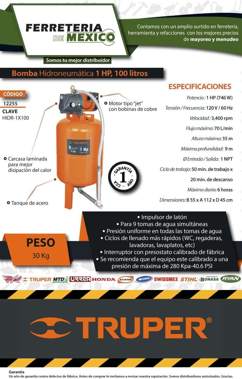 Hidroneumatico 1 hp 100 litros truper envi gratis for Costo hidroneumatico