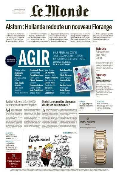 Le Monde du Mardi 13 Septembre 2016