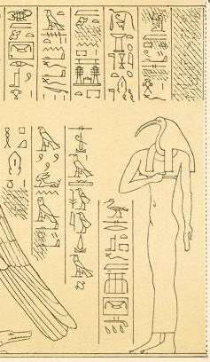 The goddess Nephthys depicted with the head of an ibis, one hand held to her chest