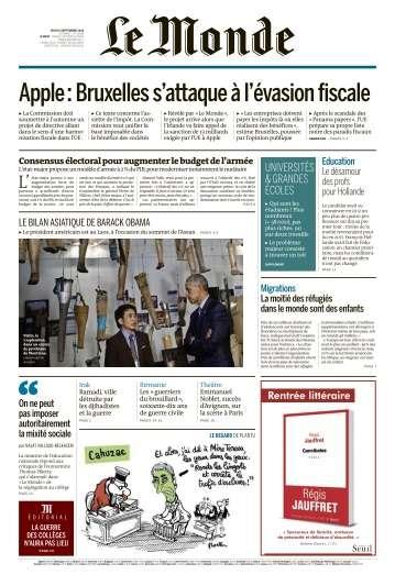 Le Monde du Jeudi 8 Septembre 2016