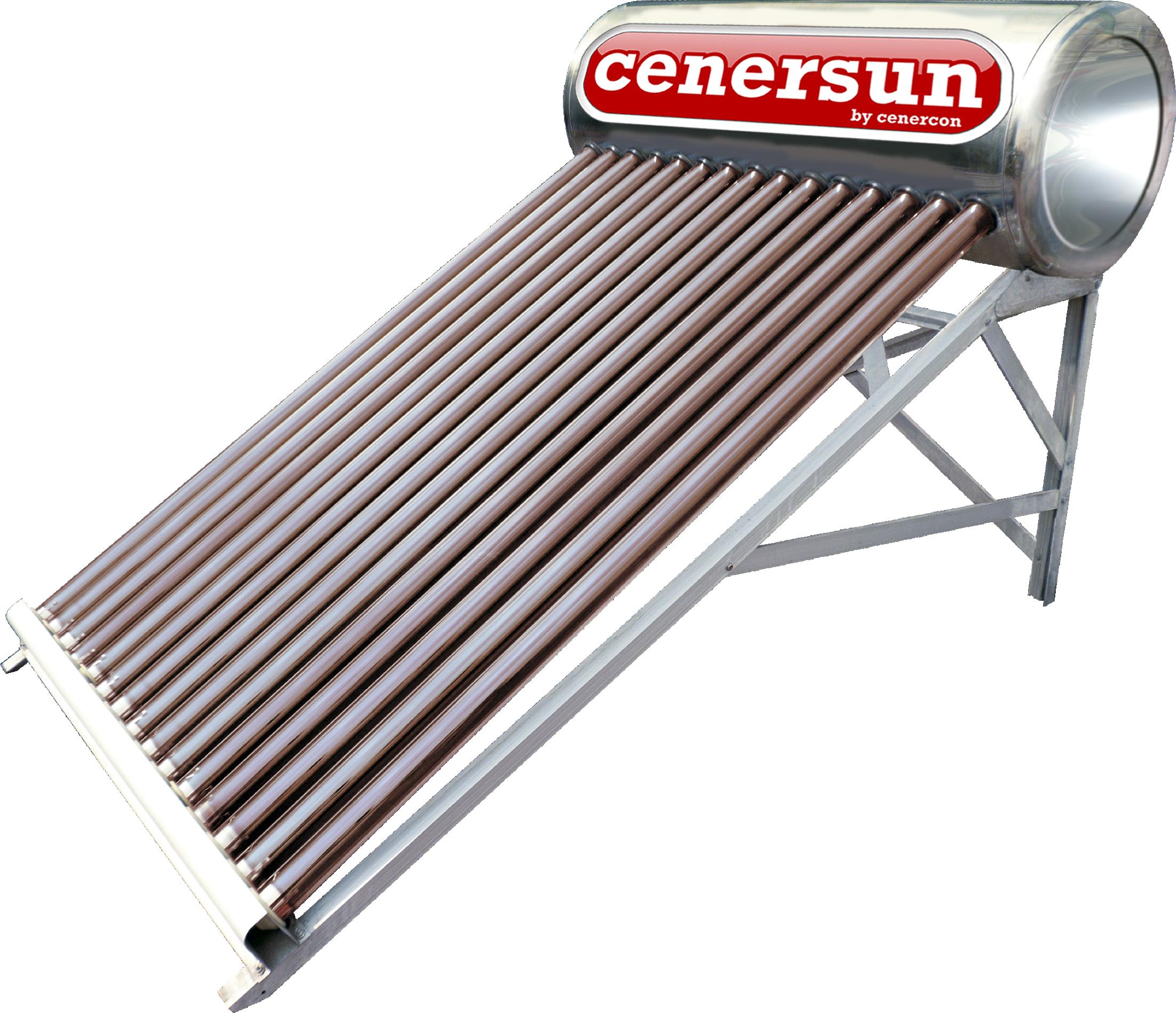 Calentador Solar Cenercon 200L 5 Personas P/Tinaco 15 Tubos