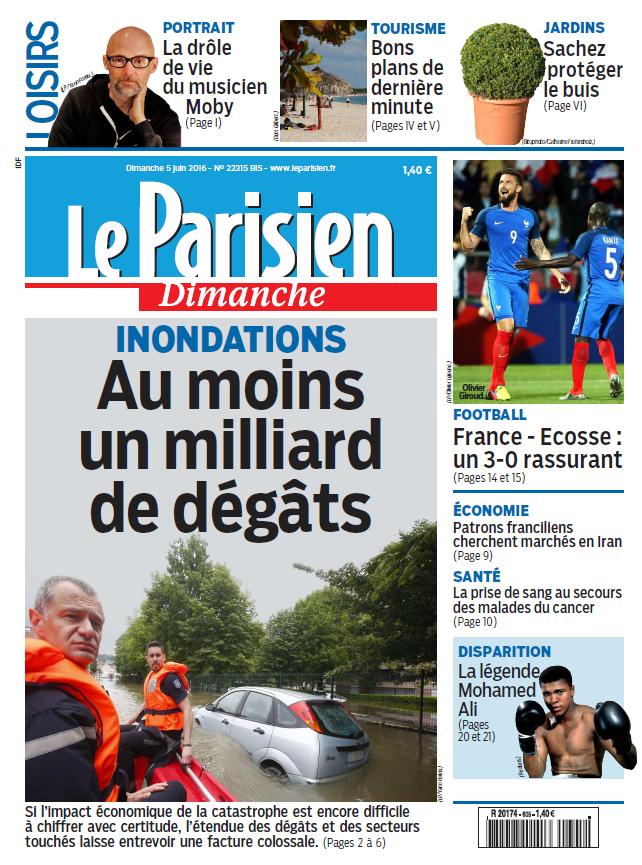 Le Parisien + Votre guide du Dimanche 5 Juin 2016