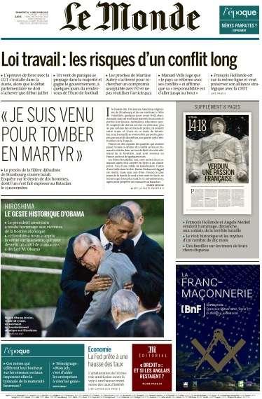 Le Monde du Dimanche 29 et Lundi 30 Mai 2016