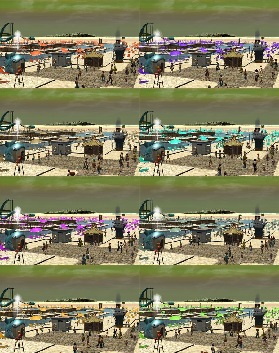 My Downloads - TexMod Packs: TexMod Pool Complex ReTextures - Demo Screenshot Collage Displaying All Eight ReTexture Pack Colors, Image 02