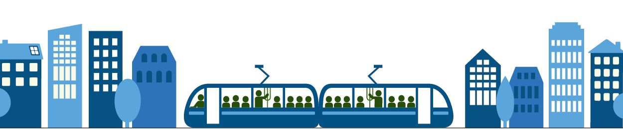 Graphic of 2 Light Rail cars going through the city