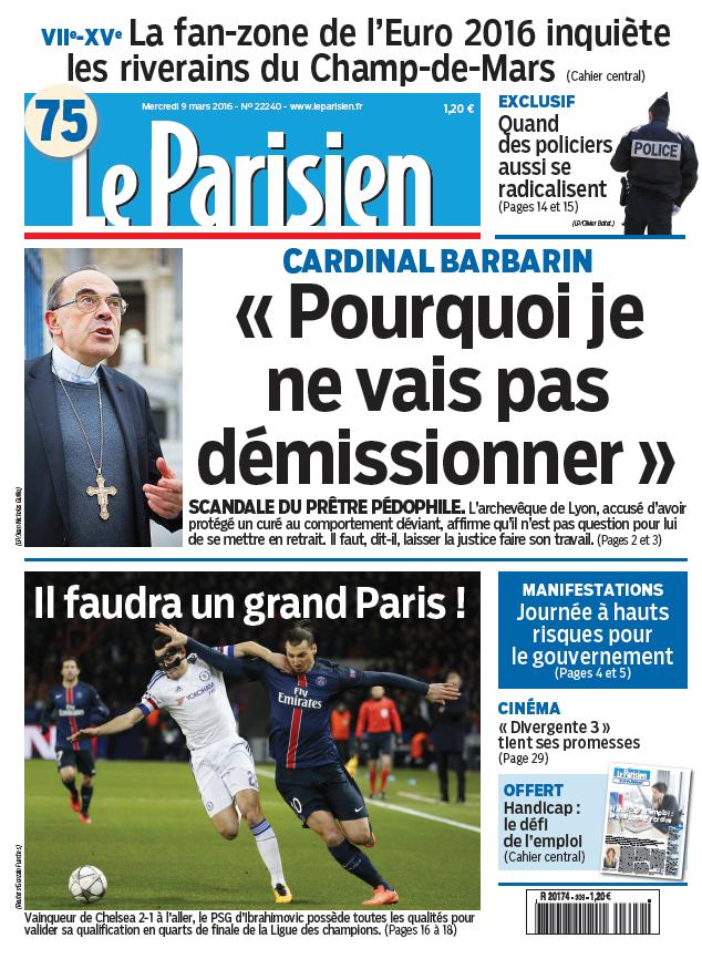 Le Parisien + Journal de Paris du Mercredi 9 Mars 2016