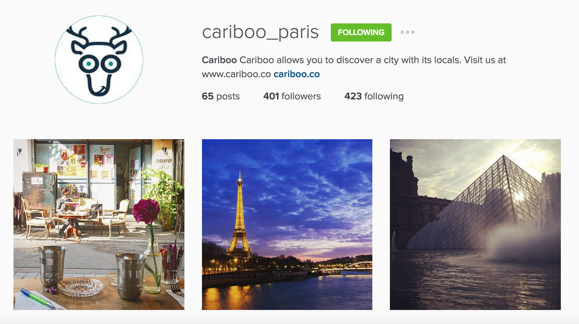 instagram cariboo paris account
