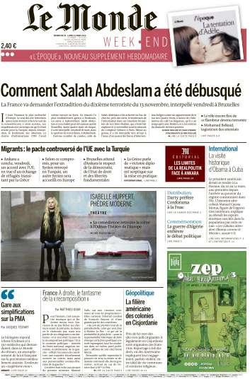 Le Monde du Dimanche 20 et Lundi 21 Mars 2016