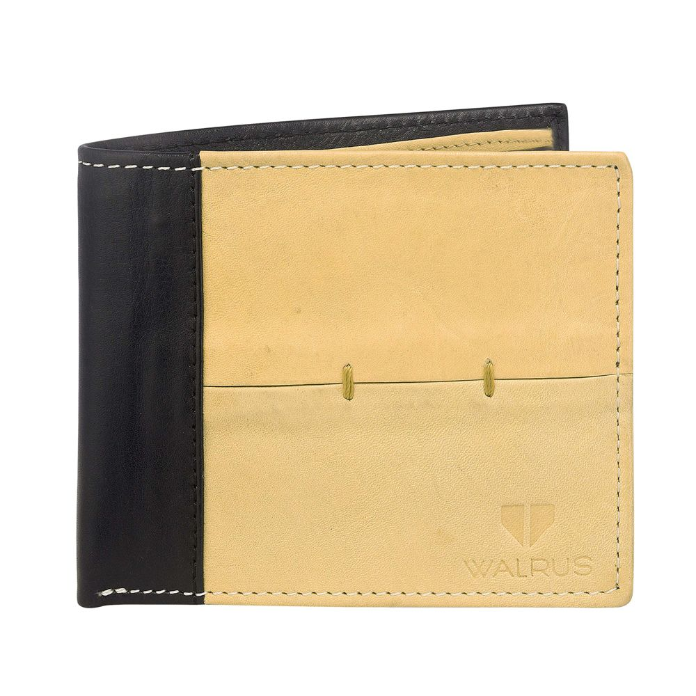Walrus Marverick Tan & Black Color Men Leather Wallet- WW-MVK-1602