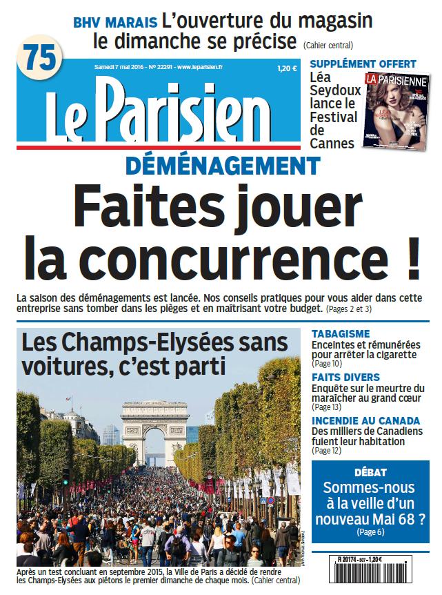 Le Parisien + Journal de Paris du Samedi 7 Mai 2016
