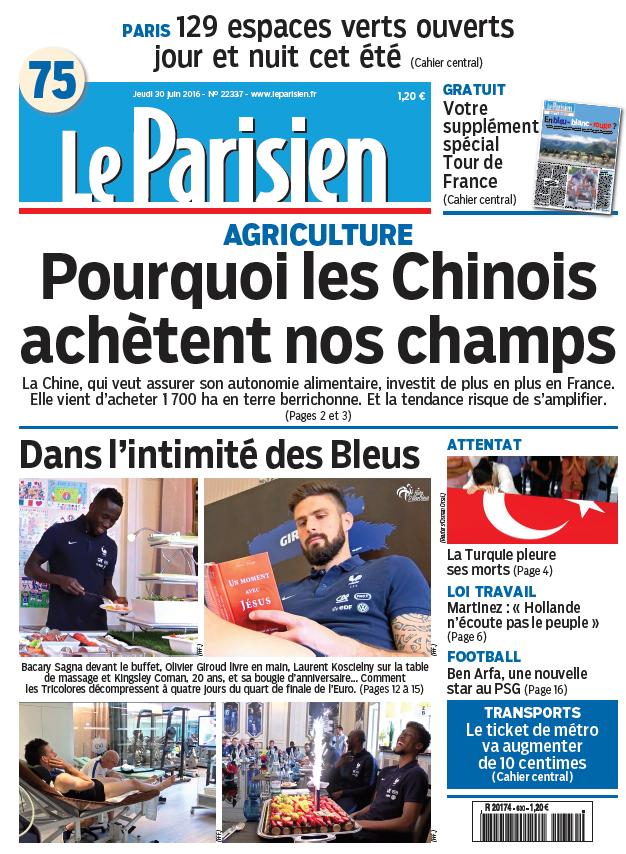 Le Parisien + Journal de Paris du Jeudi 30 Juin 2016