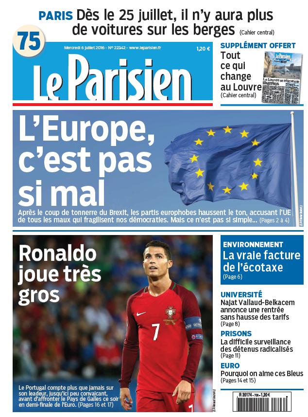 Le Parisien + Journal de Paris du Mercredi 6 Juillet 2016