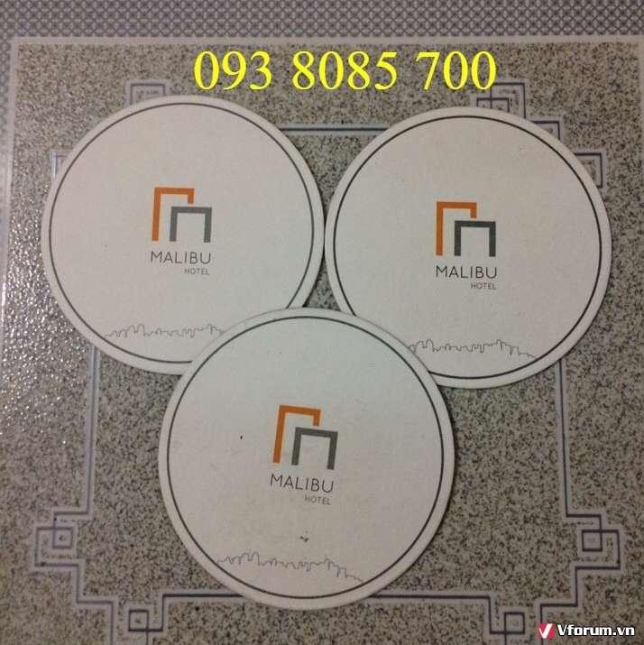 Xưởng sản xuất, nơi làm lót ly vải nỉ giá rẻ, lót ly nhưa PVC,lót ly giấy in, thêu logo theo yêu cầu 0938085700
