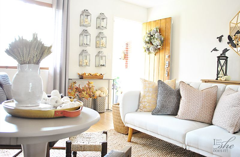 Fall entryway decorated with lanterns