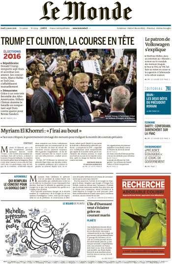 Le Monde du Jeudi 3 Mars 2016