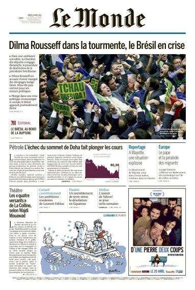 Le Monde du Mardi 19 Avril 2016