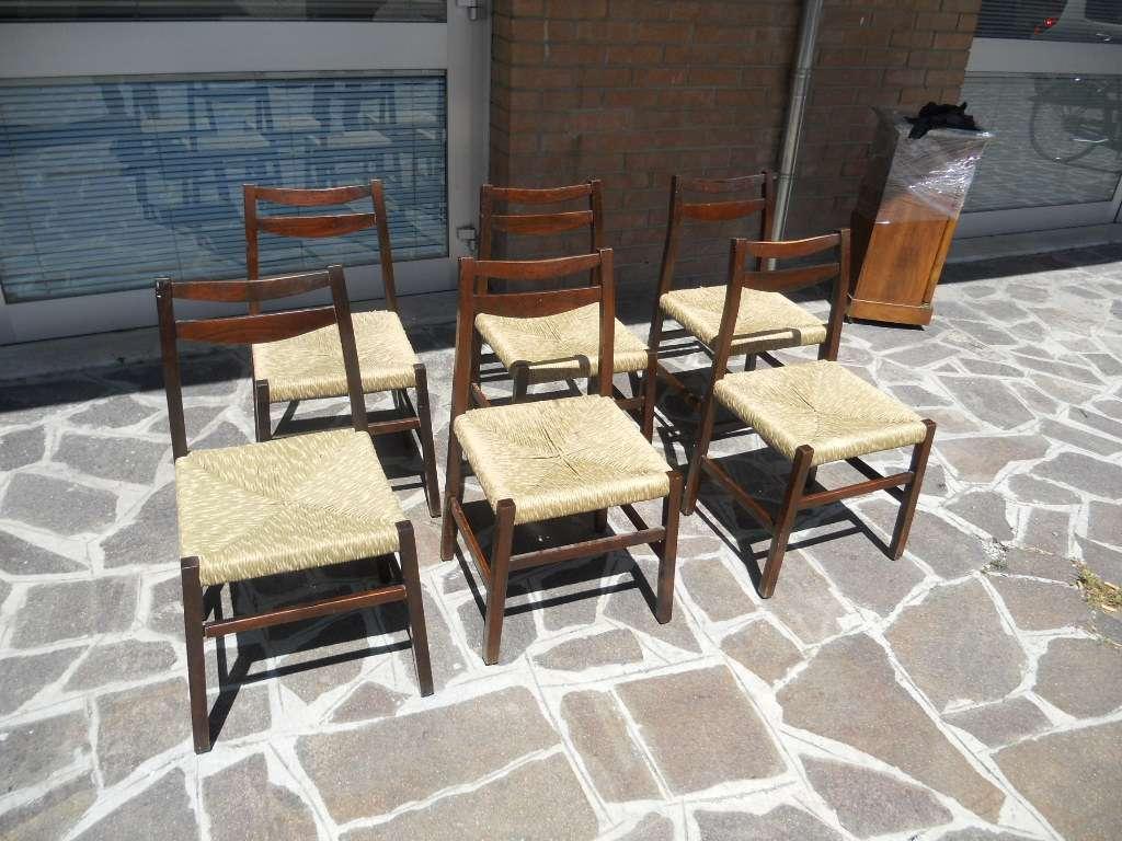 6 piccole sedie anni 60 in palissandro produzione for Sedie piccole