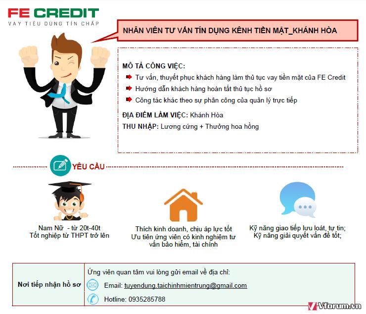 Fe credit tuyển dụng nhiều vị trí tại khánh hòa: Sales, thu hồi nợ