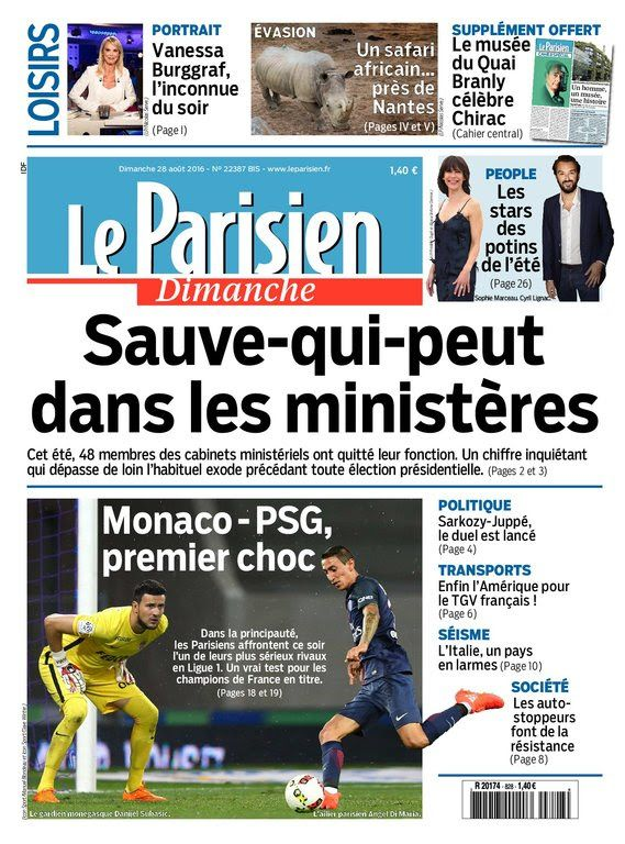 Le Parisien du dimanche 28 aout 2016