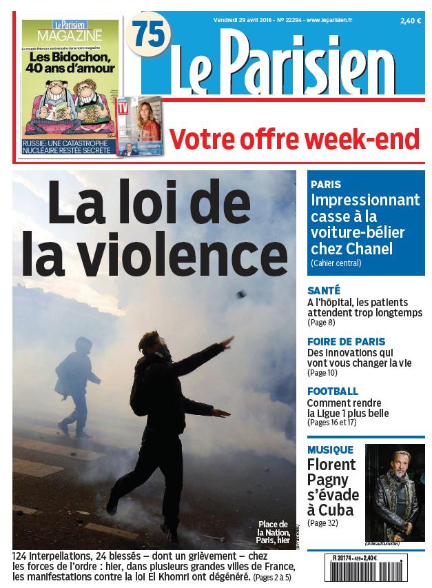 Le Parisien + Journal de Paris du Vendredi 29 Avril 2016