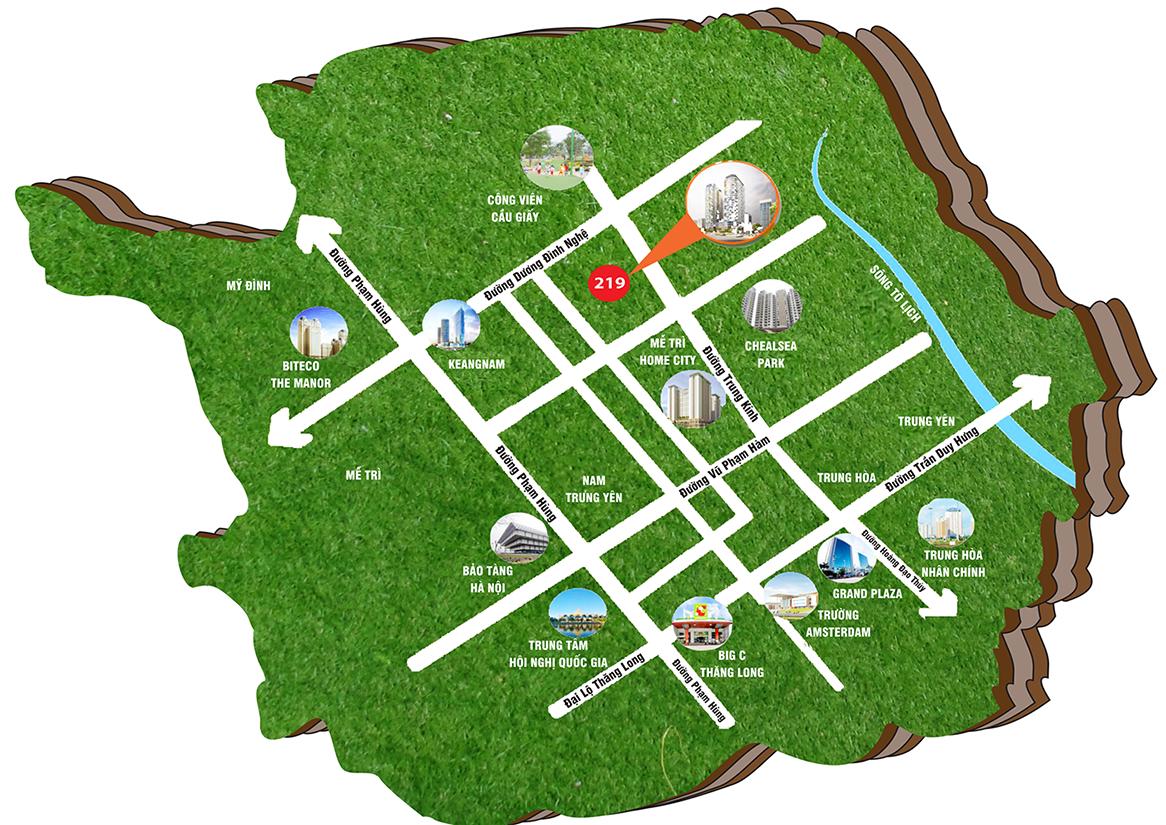 Dự án 219 Trung Kính Chung cư Mbland Central Field vị trí