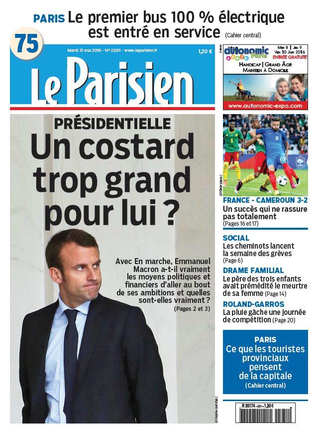 Le Parisien + Journal de Paris du Mardi 31 Mai 2016