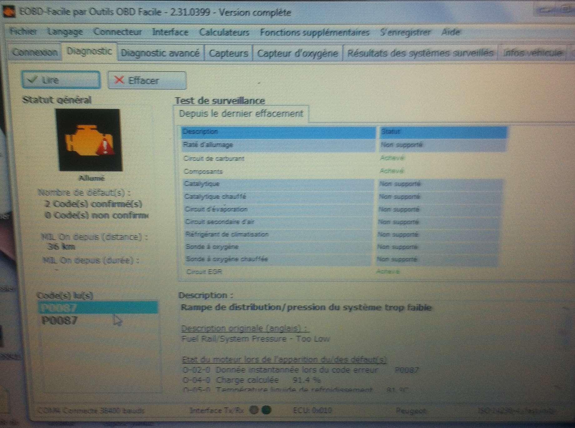 Code erreur p0087 pb rame de distribution helpppp 207 - Code erreur s04 03 ...