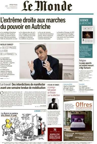 Le Monde du Mercredi 18 Mai 2016
