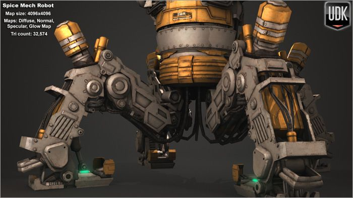 Low Poly Spice Mech close-up back