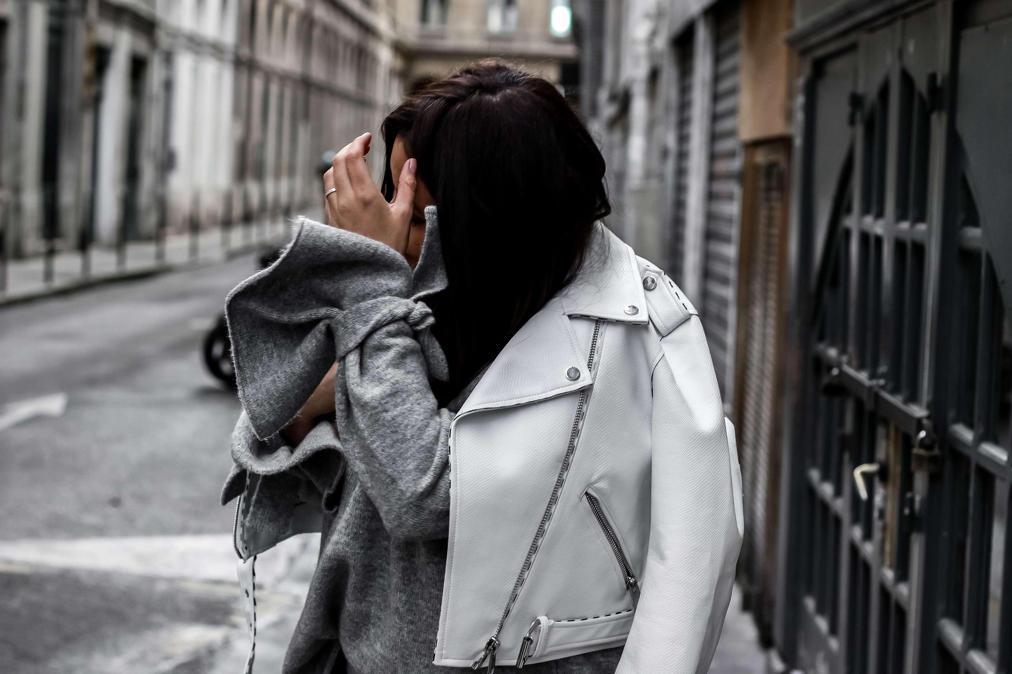 pantalon bandes, zara, perfecto zara, perfecto blanc, blog mode, the green ananas, résilles, chaussures stella, elyse stella, shein, sac femme, white