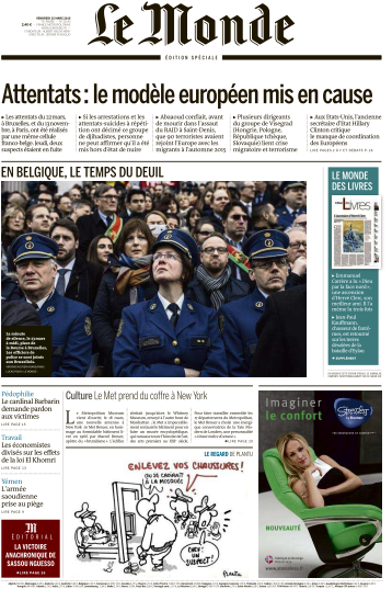 Le Monde du Vendredi 25 Mars 2016
