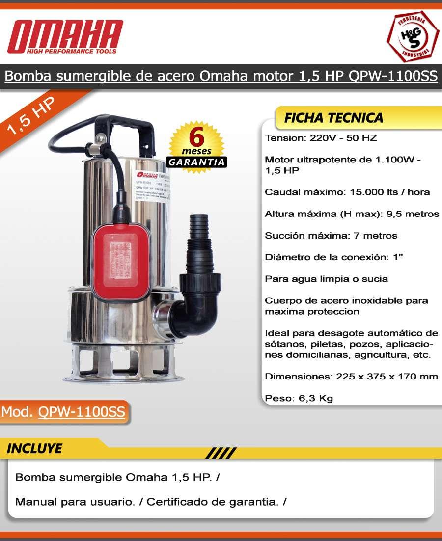 Bomba sumergible agua sucia cloacal 1 5 hp acero - Bomba de agua sucia ...