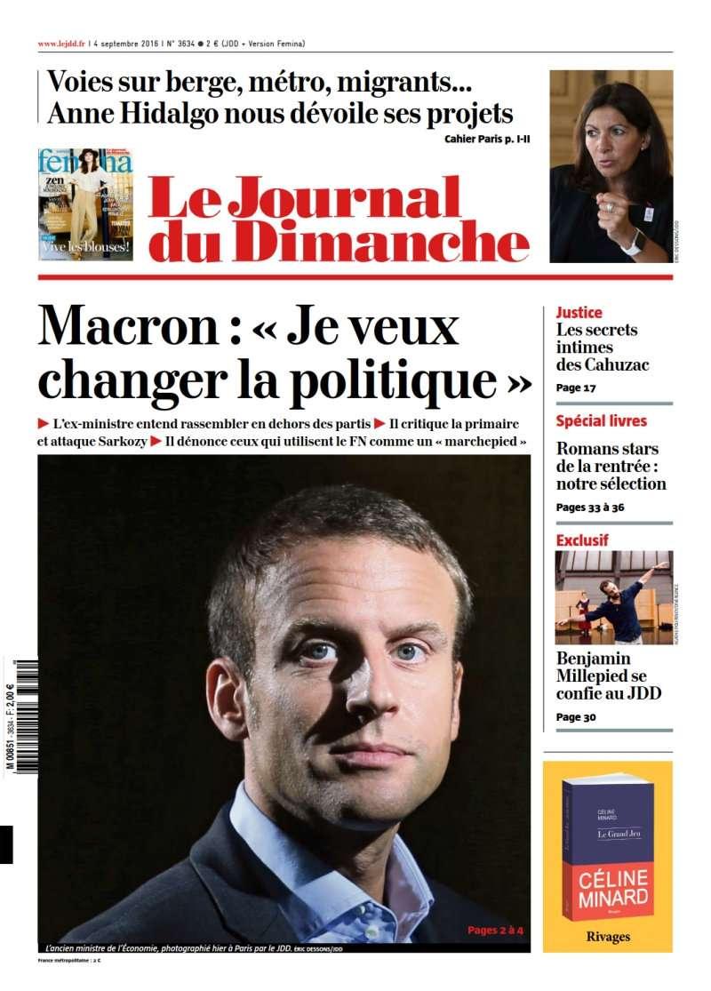 Le Journal du Dimanche 3634 du 4 Septembre 2016