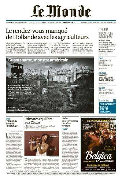 Le Monde du Dimanche 28 et Lundi 22 Février 2016