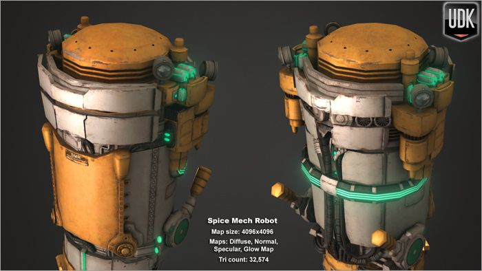 Low Poly Spice Mech aerial view