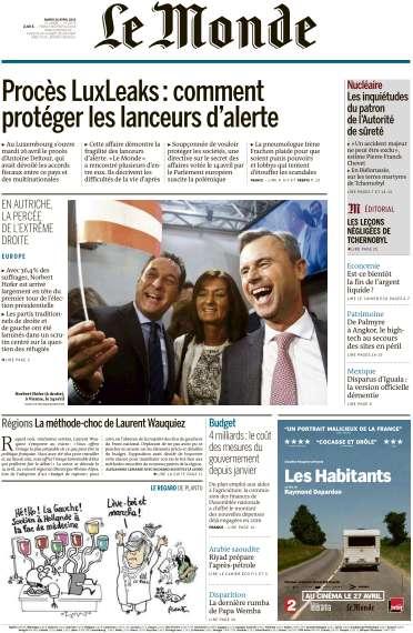 Le Monde du Mardi 26 Avril 2016