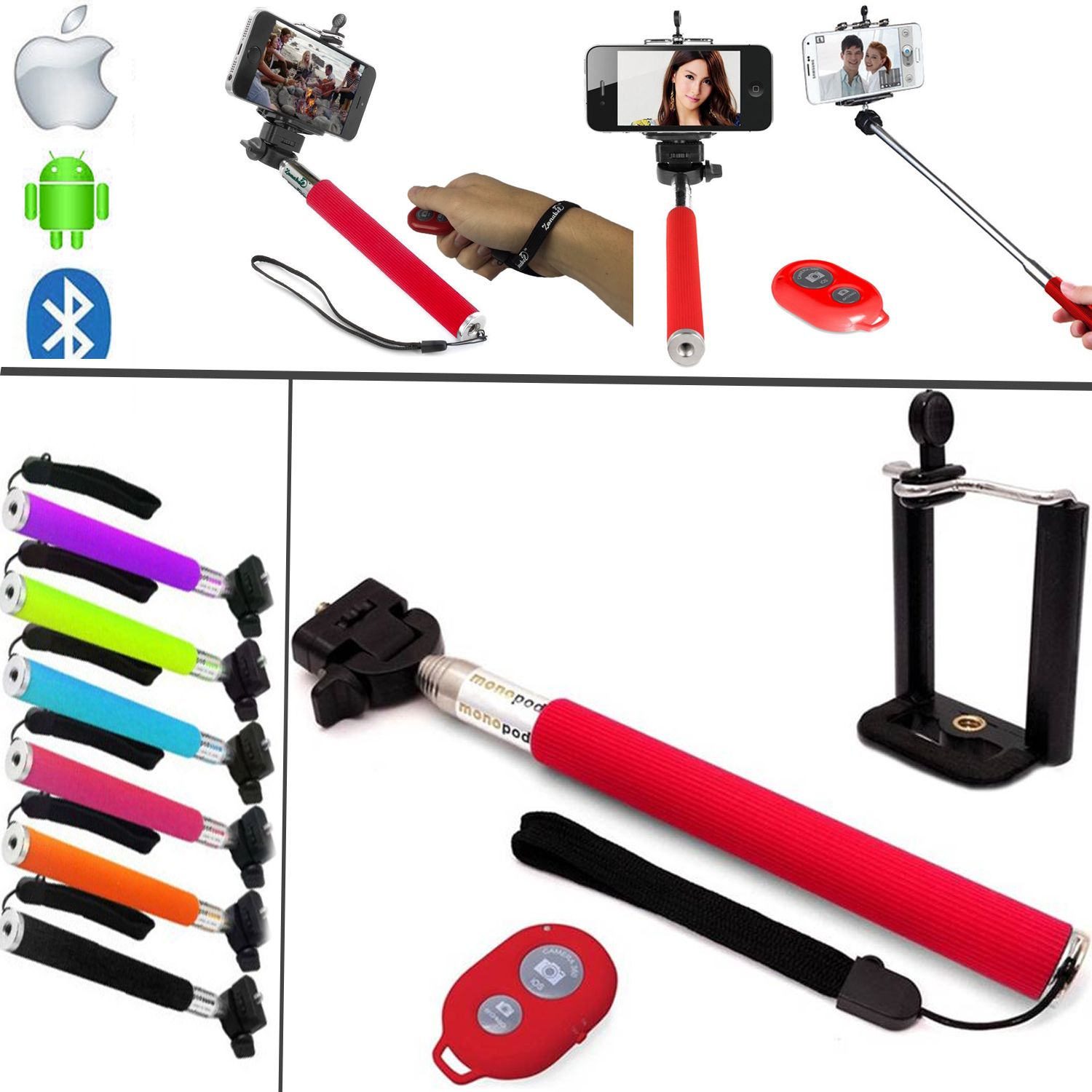 telescopic selfie stick handheld monopod remote for iphone 6 6g 6 plus ebay. Black Bedroom Furniture Sets. Home Design Ideas