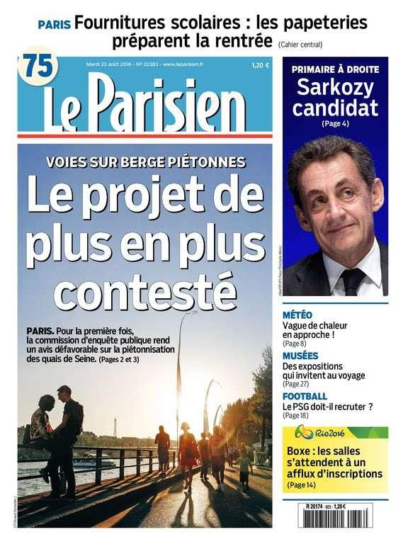 Le Parisien et Journal de Paris du mardi 23 aout 2016