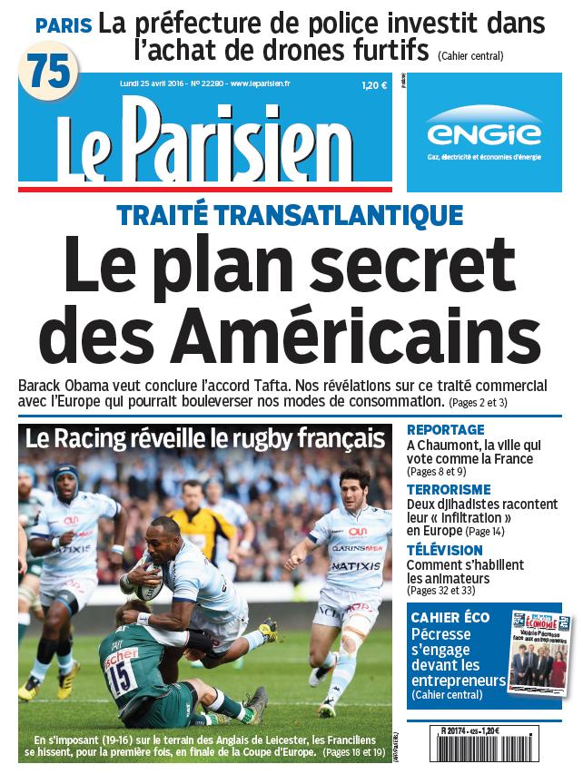 Le Parisien + Journal de Paris du Lundi 25 Avril 2016