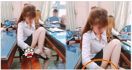 Cô bạn cùng bàn nhấc chân đeo lại dây giày, vừa quay mặt sang thanh niên liền nóng rực người khi nhìn thấy thứ chảy dài cả băng ghế!