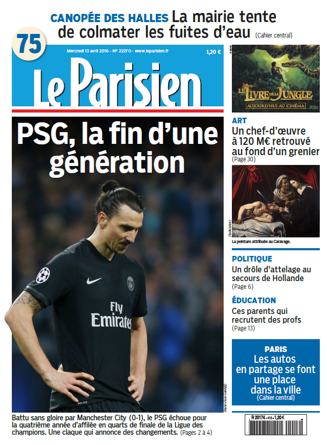 Le Parisien + Journal de Paris du Mercredi 13 Avril 2016