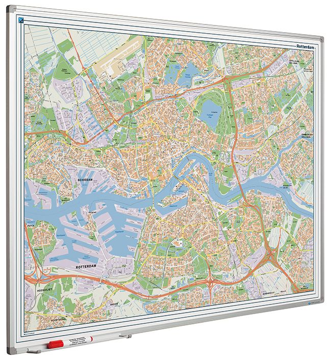 Photo: Landkaart bord Softline profiel 8mm, Rotterdam